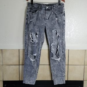Divided By H&M black raw hem destroyed jeans 10